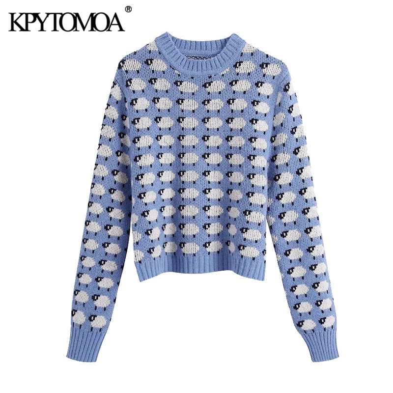 KPYTOMOA Women 2020 Fashion With Ribbed Trims Jacquard Knitted Sweater Vintage O Neck Long Sleeve Female Pullovers Chic Tops