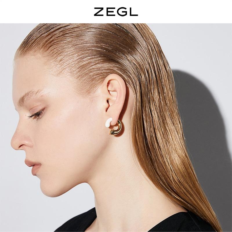 Zegl Retro Simple Contrast Earrings Women's Special-Interest Design Ear Studs 2021new Trendy Style O