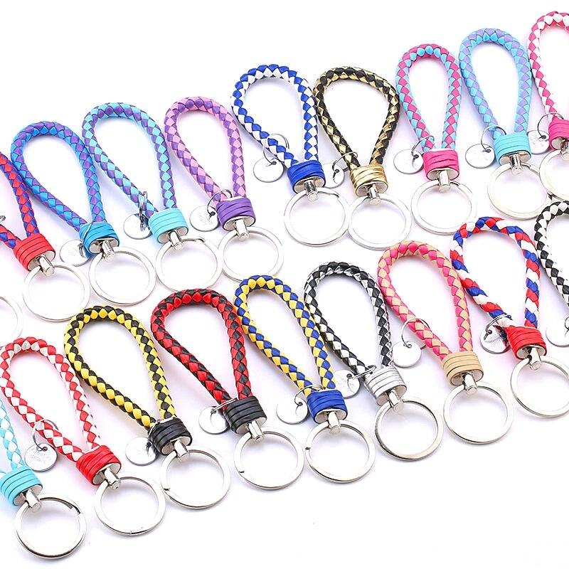 10pcs PU Leather Keychain handbag Keyrings Car Keyrings Men Women Keychain Rope keychain DIY bag Pendant Key Chain Holder gifts