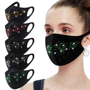 Headband 1PC mascarilas reutilizables Women's Masquerade Mask Ball - Golden Metal Diamond Water Crystal Color masques бандана#
