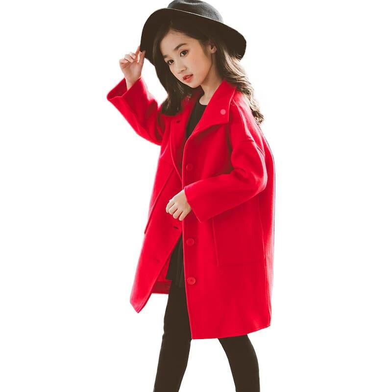 سترة خريف وشتاء 2019 للبنات ، معطف طويل من الصوف ، ملابس خارجية بجيوب كبيرة للأطفال ، معطف من 8 10 12 14 16