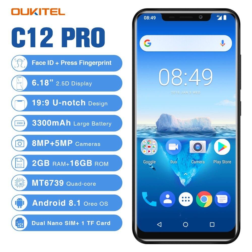 "Oukitel C12 Pro Smartphone 4G 6.18 ""199 Android 8,1 Gesicht ID 2GB RAM 16GB ROM 3300mAh MT6739 Quad Core Fingerprint Handy"