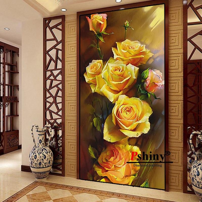 Алмазная вышивка PSHINY 5D DIY, распродажа, желтые розы, цветы, квадратные стразы, картины, алмазная живопись, новое поступление