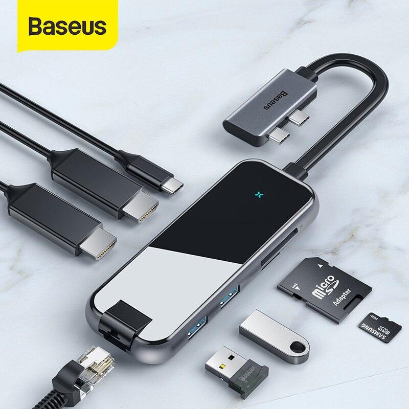 Baseus USB C a HDMI USB 3,0 RJ45 tipo C para MacBook Pro aire 2020 lector de tarjeta de cristal divisor USB para portátil USB HUB