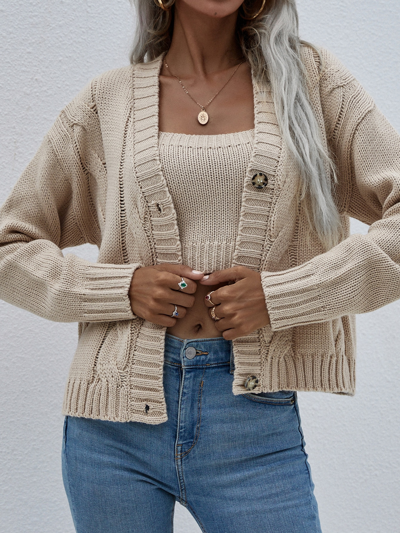 Woman Cardigan Knit Sweater Round Neck Solid Color European And American Jacket New Sweater Women Two-piece Suit enlarge