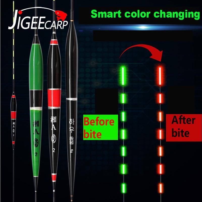 JIGEECARP 1 шт. сигнализация для укуса рыбы изменение цвета Светящийся электронный поплавок яркая ночная ловля карпа электронный поплавок аксессуары