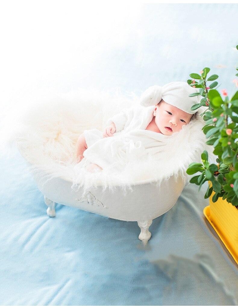 Newborn Photography Props Baby Cribes Iron Shower Bathtub Cotton Ducks Set Children Bubble Machine Furniture Photo Accessories enlarge