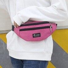 Dihope Woman Men Waist Bag Pack Casual Functional Money Phone Belt Bag T201 Gray Black Women Bag For Belt Canvas Hip Bag Fanny