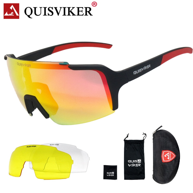 QUISVIKER New 3 lens set half frame cycling glasses fully coated outdoor sport goggles  bicycles sunglasses