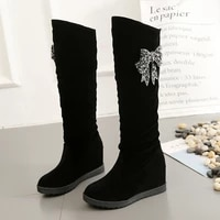 2021 autumn new womens boots suede rhinestone knee length snow boots outdoor non slip warm casual shoes flat boots cotton boots