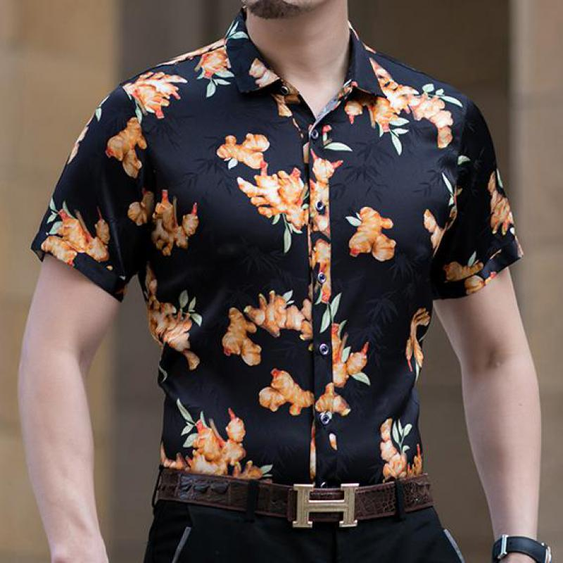 2021 Summer Strench Ice Silk Mens Shirts Yellow Flowers Fashion Man Clothes Big Size Soft Smooth Hawaiian Dress Father Husband