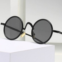 Elbru Retro Metal Round Frame Sunglasses Eyeglass Foot Tail Water Drop Shaped Hollow Out Design Pola