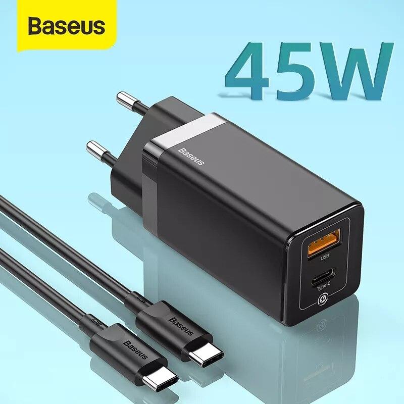 باسيوس 45 وات غان شاحن USB سريع ل ايفون يدعم SCP QC3.0 PD3.0 شحن سريع ل شاومي السفر شاحن سريع لأجهزة الكمبيوتر المحمول