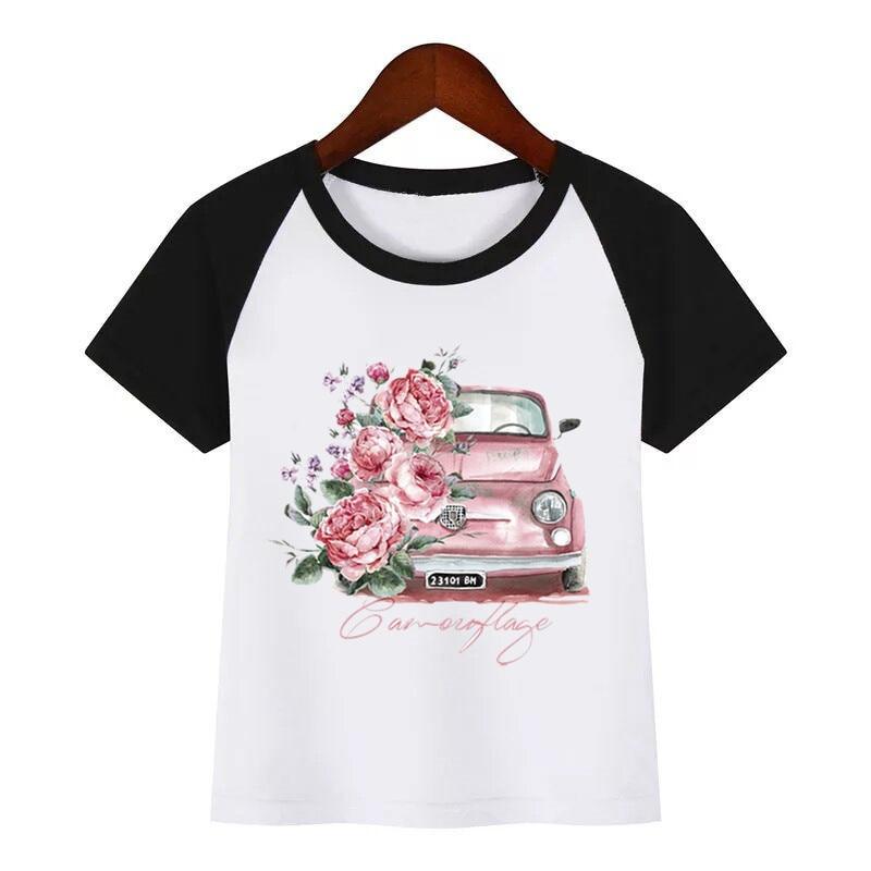 Funny Flower Car T Shirt Clothes Children Summer T-shirt Kids