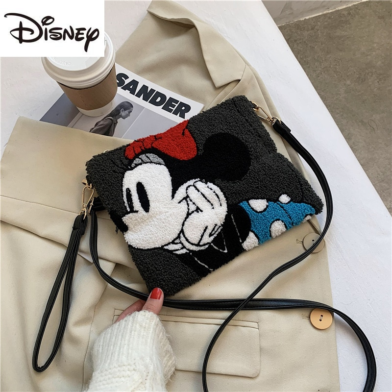 Disney Mickey Mouse Ladies One-shoulder Messenger Bag Fashion Casual Zipper Multi-function Large-capacity Pu Hand Cosmetic Bag