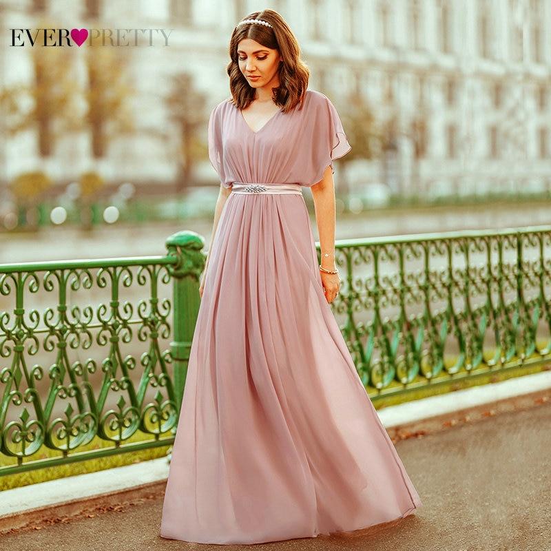 Sequin Evening Dresses Long Ever Pretty Elegant A Line V Neck Chiffon Dress For Women Long Elegant Party Prom Вечерние Платья