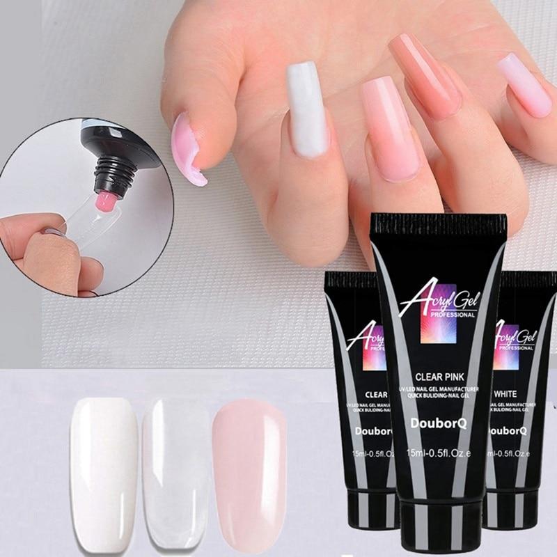 1Pc 15ml Nail Gel Nail Extension Glitter Acrylic Gel Nail Gel UV Building Jelly Gel Polish Enhanceme