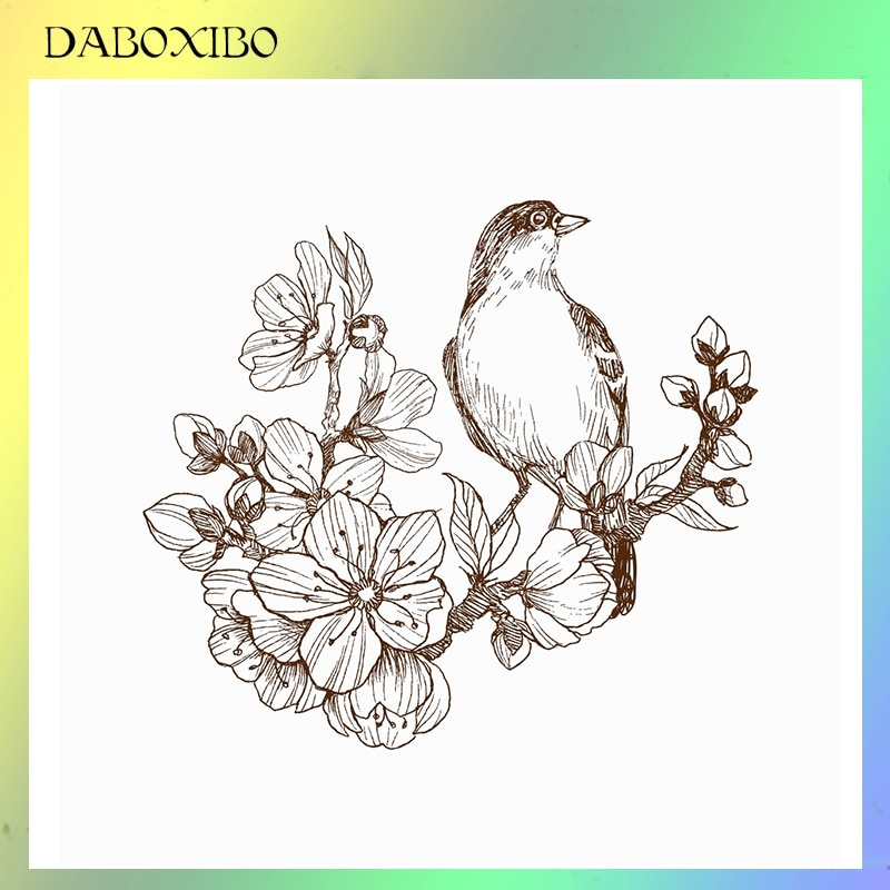 DABOXIBO Bird On floring Branch sellos transparentes para álbum de recortes DIY/fabricación de tarjetas/álbum de fotos de silicona artesanías decorativas 13x13