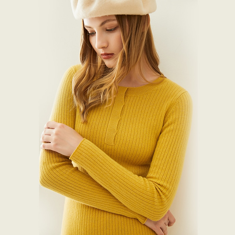Women's high elastic round neck sweater, 100% pure Merino wool knitted sweater, fashion slim long sleeves, new winter fashion enlarge