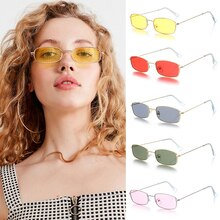Unisex Metal Frame Rectangle Sunglasses Fashion Small Retro Shades UV400 Sun Glasses Eyewear for Men