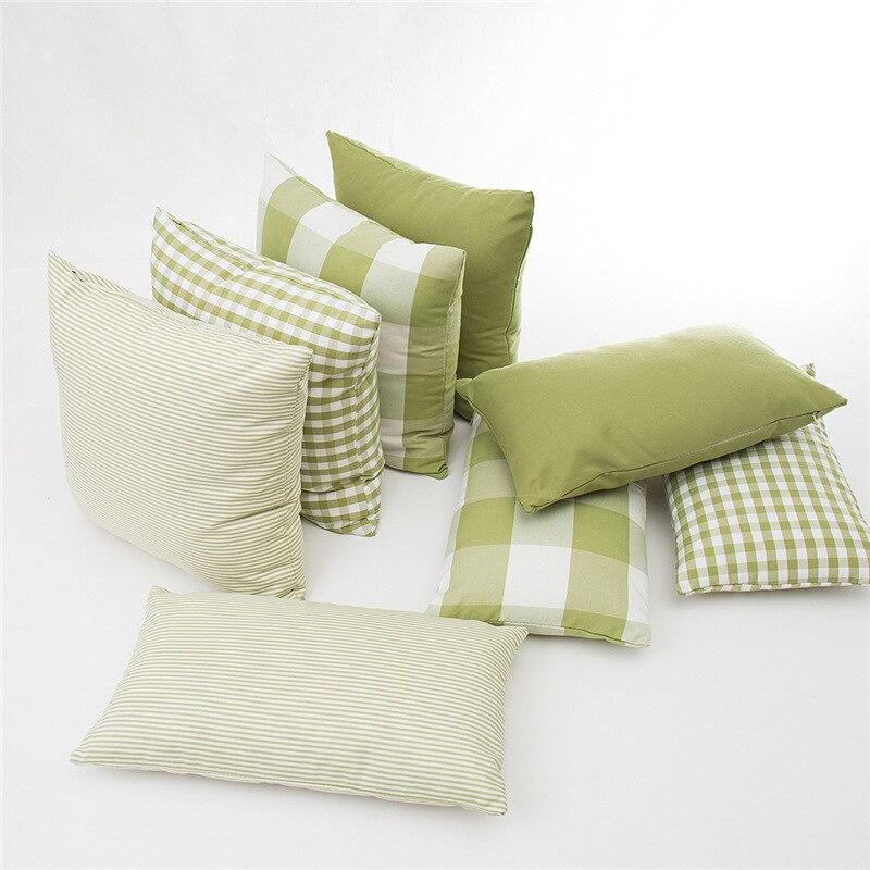Funda para cojín de cuadros de color liso de 0/45x45cm, funda para almohada a cuadros de color verde hierba, funda para sofá a rayas, funda de almohada lumbar 30x5