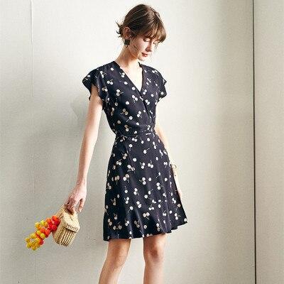 Vestido de hilo de seda de impresión negro cereza verano fibras de poliéster (polyest Office Lady plisado corto cuello pico sin tirantes Imperio