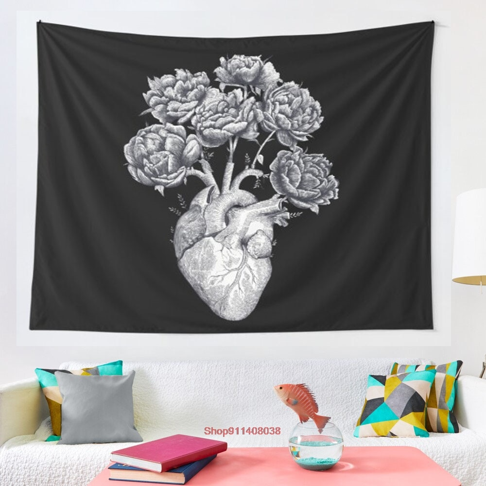 Heart with peonies BandW on black tapestry Wall Hanging Tapestries for Living Room Bedroom Decor