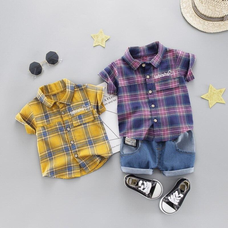 Verano 2020, conjuntos para niños y niñas, conjuntos de algodón a la moda, camisas a cuadros de manga corta + pantalones cortos de mezclilla, ropa para niños de dos piezas