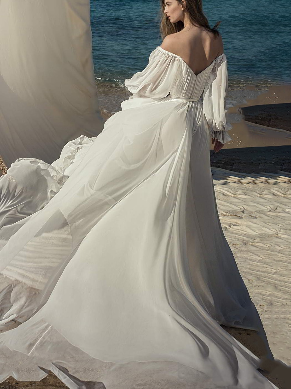 off-the-shoulder-chiffon-wedding-bridesmaid-dress-simple-ruched-pleated-beach-sexy-a-line-backlesslong-puffy-sleeves-bridal-gown