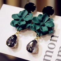 simple crystal green black flower earrings jewelry accessories 2021