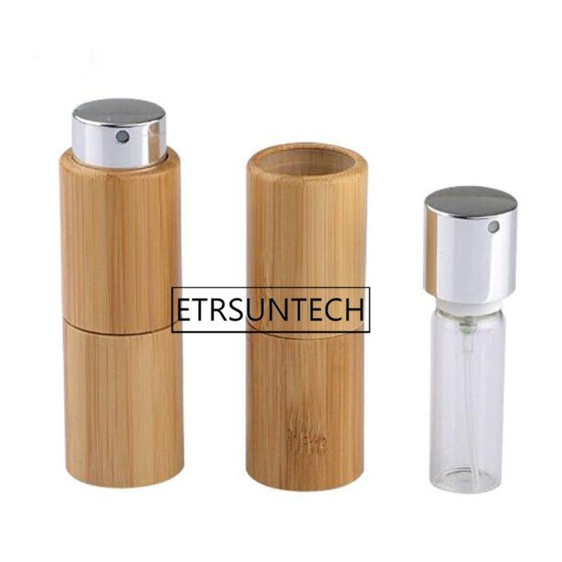 50 Uds 10ml vacío creativo giratorio de bambú Perfume Spray botella portátil reutilizable cosmético líquido contenedor atomizador interior de vidrio
