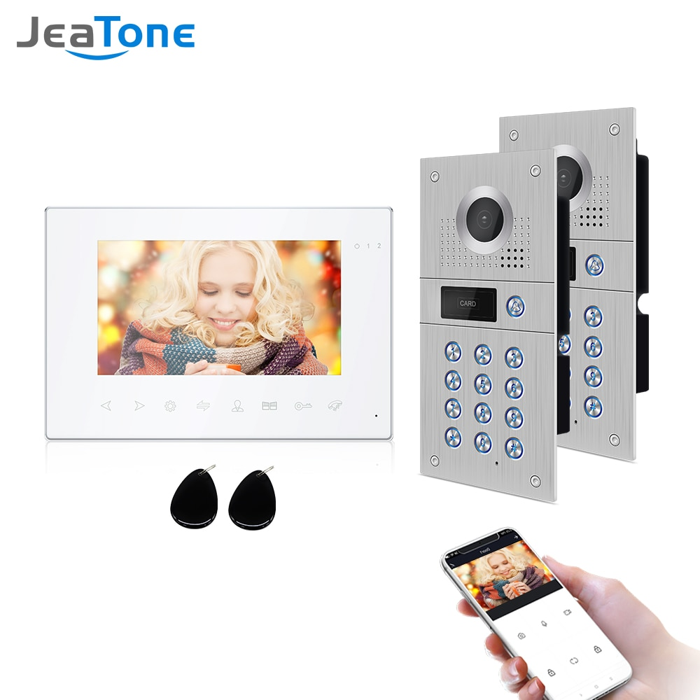 Jeatone Wireless Wifi Video Intercom for Home IP Video Doorbell Electromagnetic Card Unlock HD Screen Wifi Home Intercom System