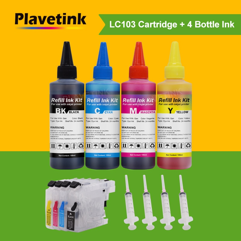 Plavetink 400 مللي طابعة الحبر + LC101 LC103 LC105 LC107 LC109 صبغ الحبر خرطوشة لأخيه LC 103 XL MFC J6520DW J6720DW J6920DW