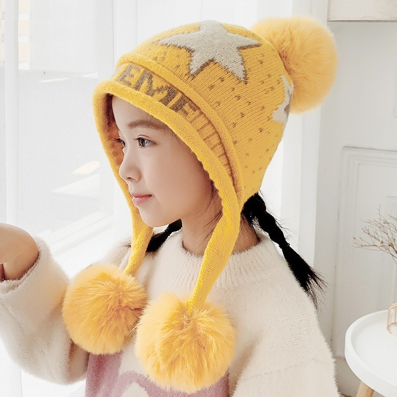 2-8 Years old Toddler Girls Beanie Hats Knitted Warm Caps for Kids Autumn Winter Girls Hats for Toddler gorro
