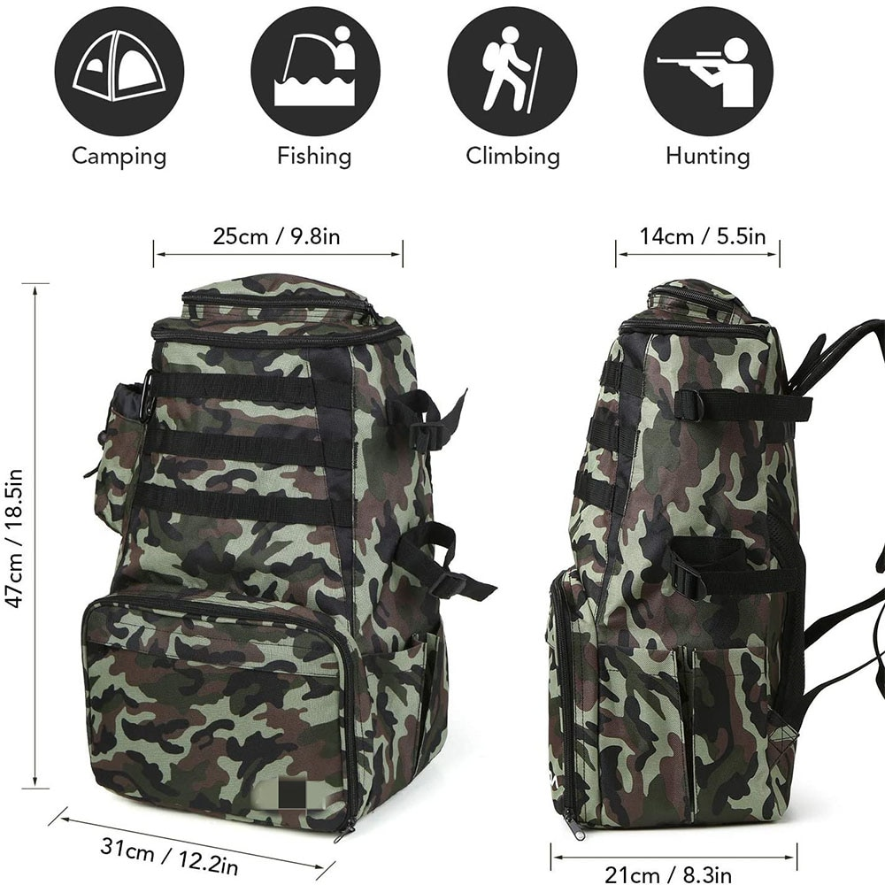 Outdoor Tackle Backpack Bag with 4 Fishing Tackle Boxes Water-resistant Fly Fishing Pack Camping Hiking Backpack Fishing Bag enlarge