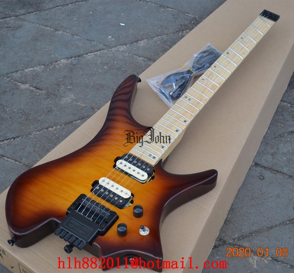 Nuevo diapasón de arce sin cabeza, guitarra eléctrica, cuerpo de caoba de ráfaga de cereza, envío gratis BJS-1