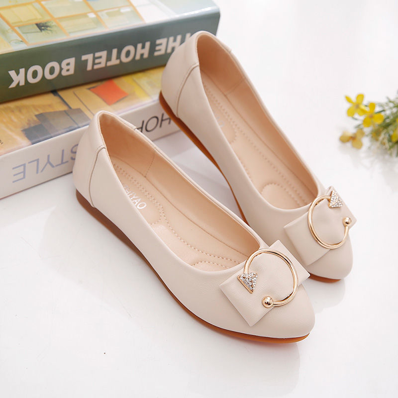 New Woman casual flat leather shoes classic Fashion Soft bottom comfortable shallow mouth non-slip w