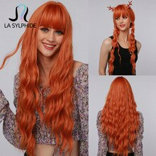La Sylphide Halloween Cosplay Wig Long Deep Wave Orange Synthetic hair Wigs with Bangs for Black White Woman Heat Resistant Wigs