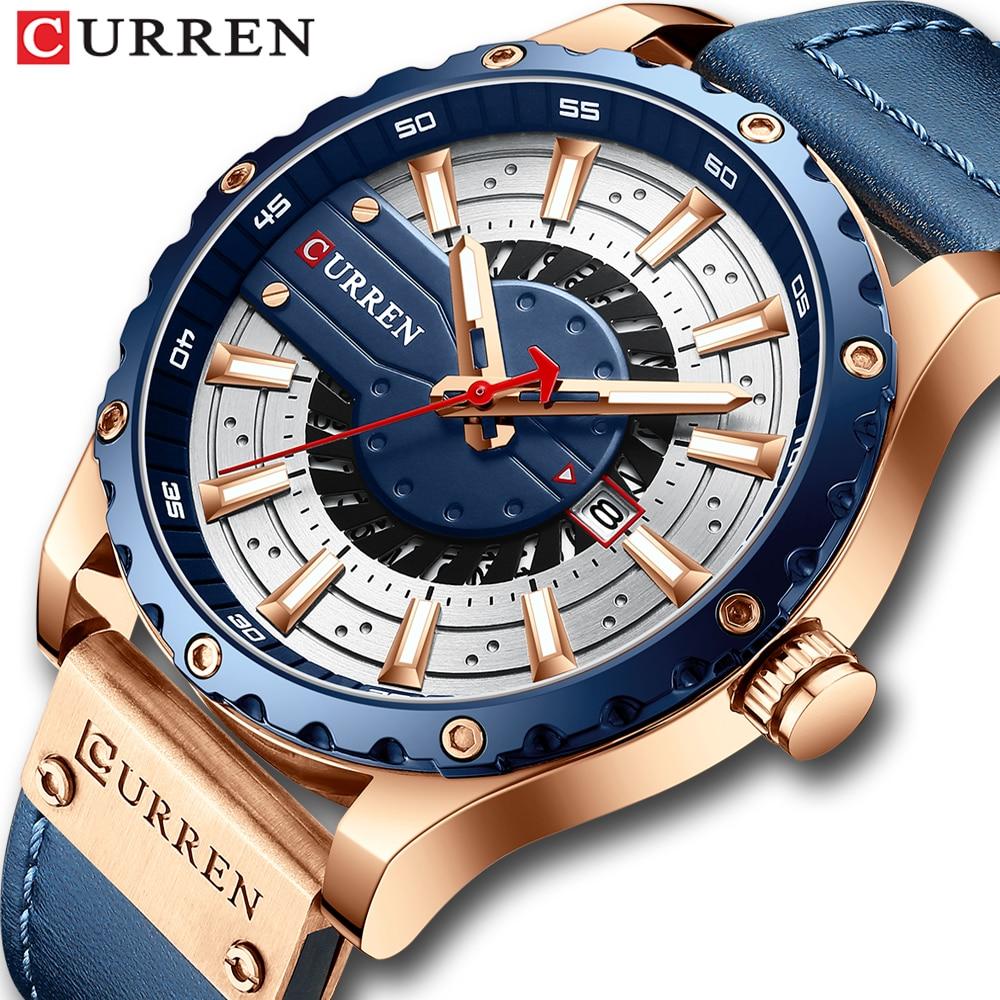 aliexpress.com - CURREN Watches Top Brand Fashion Leather Wristwatch Casual Quartz Men's Watch New Chic Luminous hands Clock