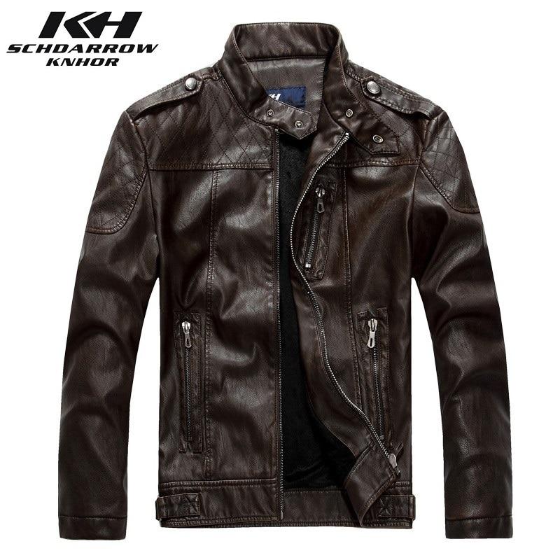 Мужская кожаная куртка, Мужская классическая мотоциклетная куртка из искусственной кожи, осенне-зимняя повседневная кожаная верхняя одежд...