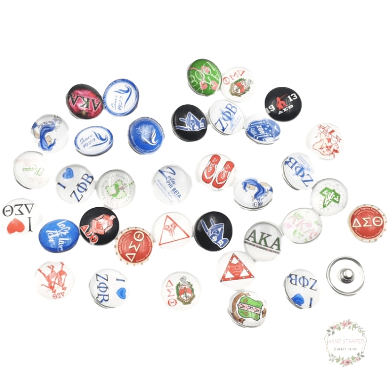 30 unidades AKA Kappa Alpha Sorority de cristal redondo botón de presión encantos joyería para 18MM Alpha AKA Ginger Snaps pulsera anillos