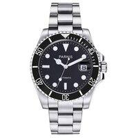 New Parnis 40mm Black Bezel Mens Automatic Mechanical Watch Ceramic Diving 100m Steel Miyota 8215 Movement Men's Watches 2019