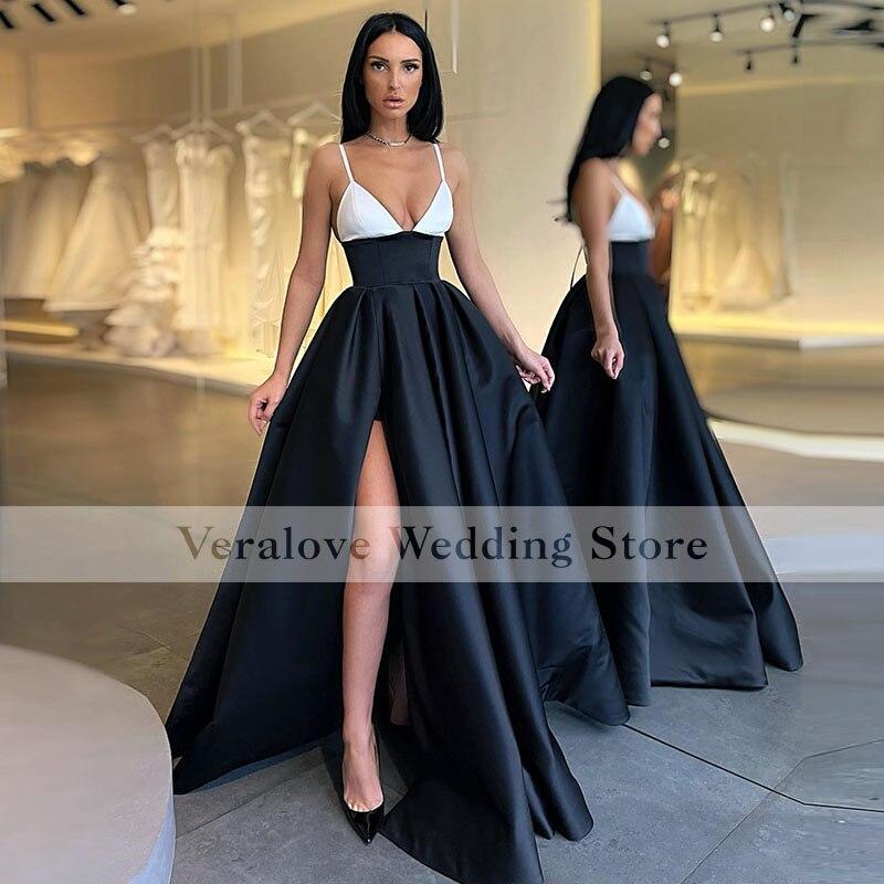 Women's Long Black Sexy Prom Dress Split Spaghetti Straps A Line Black Girls African Women Formal Ev