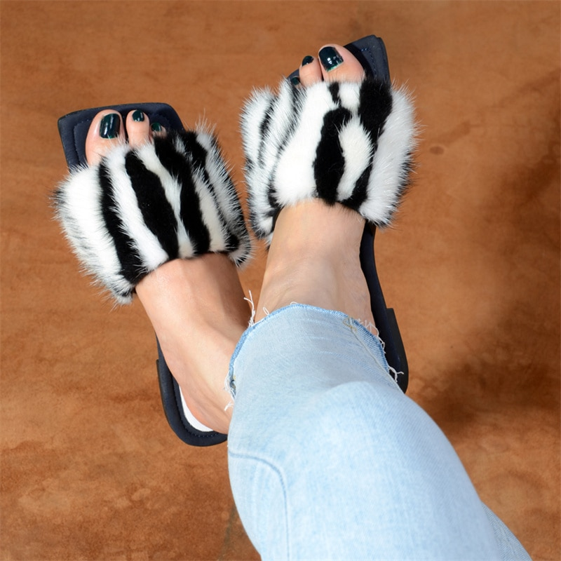 2021 Ladies Slippers Luxury Designer Brand Sandals Ladies 100% Mink Fur Slippers Women's Home Slippers Plush Women's Shoes