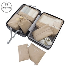 7Pcs/set Travel Packing Cube Bag Organizer Clothe Mesh Storage Bag Cation Underwear Bra Sock Pouch Wash Bags Travel Accessories