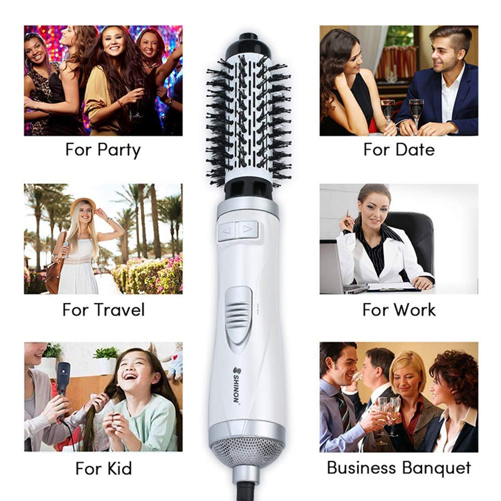 Hot Air Spin Brush for Styling and Frizz Control Auto rotating Curling Negative Ionic Hair Curler Dryer Brush 1 1/2 Inch