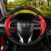 for honda civic 10th red leather black carbon fiber diy steering wheel cover