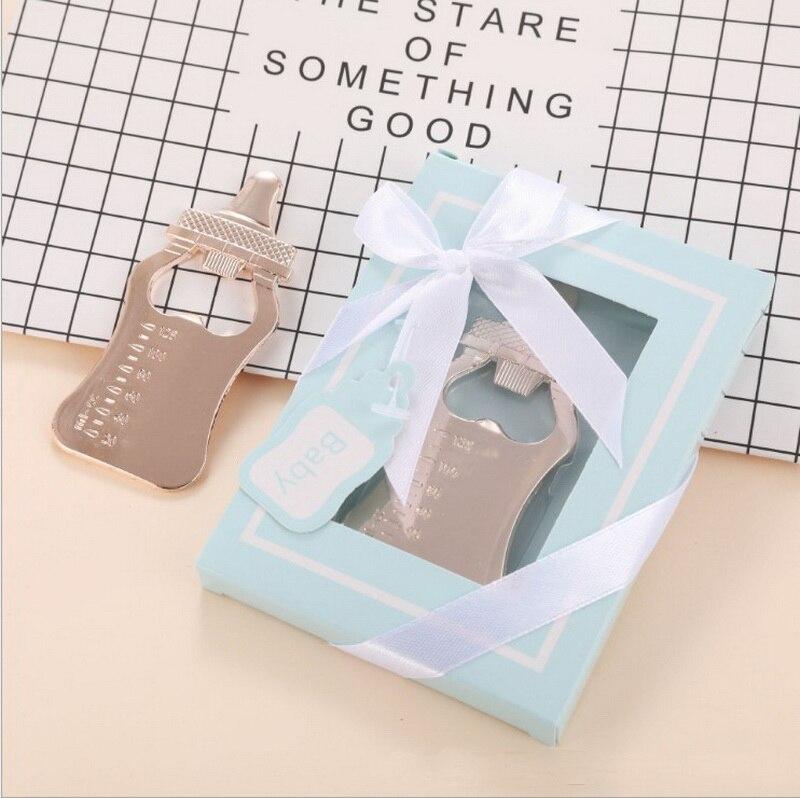 فتاحة زجاجات ذهبية للأطفال ، صندوق أزرق ، هدايا لحديثي الولادة ، المعمودية ، للضيوف ، 10 قطعة