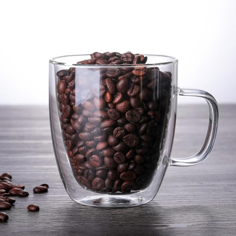 Кофейные кружки с ручкой, чашки для напитков, изоляционные двухслойные Стеклянные чашки для чая, изолированные стаканы для напитков