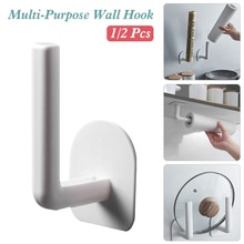 Multi-purpose Toilet Paper Holder Towel Wall Hook Self-adhesive Paper Pot Lid Holder Organizer for Shelf Kitchen Paper Roll Hold